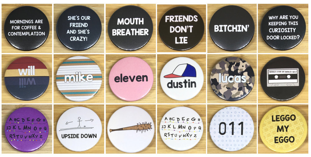 Collection of 18 different Stranger Things Badges