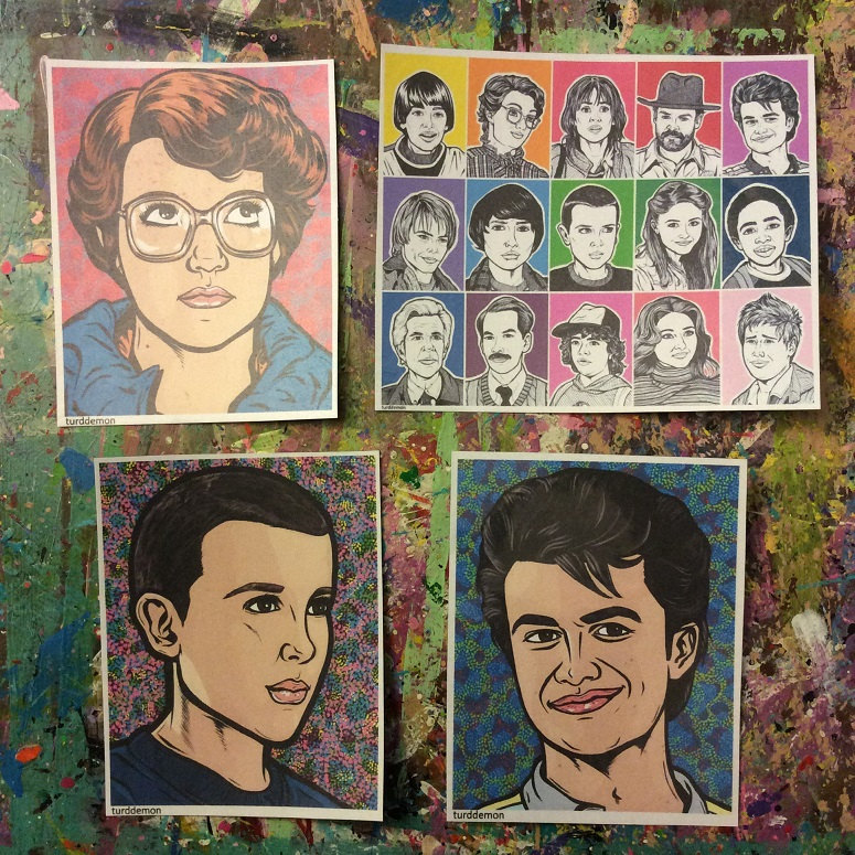 Handmade Stranger Things sticker set featuring Eleven, Barb, Steve and the cast
