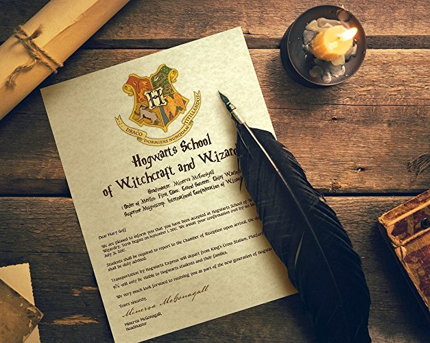 A personalized Hogwarts acceptance letter next to a quill and candle