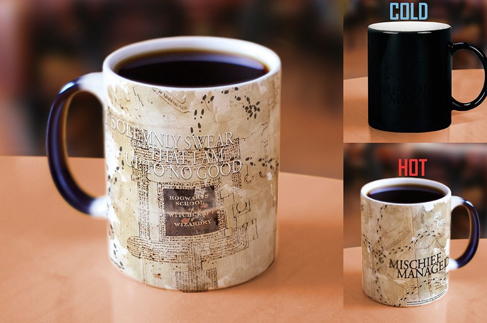 Marauders Map Mug before and after pouring hot liquid in