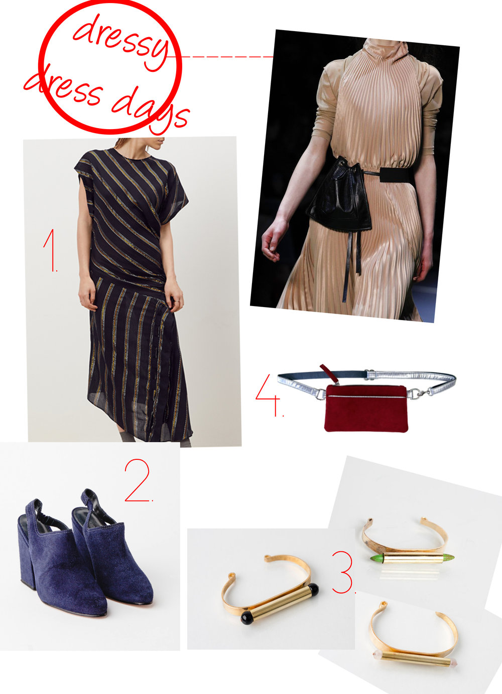 1. Rachel Comey Black Regent Dress 2. Rachel Comey Kai Slingback Heels 3. Cities in Dust Black Onyx Ball Cuff  Cities in Dust Rose Quartz Ball Cuff  Cities in Dust Green Dagger Cuff 4. Hipster for Sister Mulberry Red Pocket Bum Bag