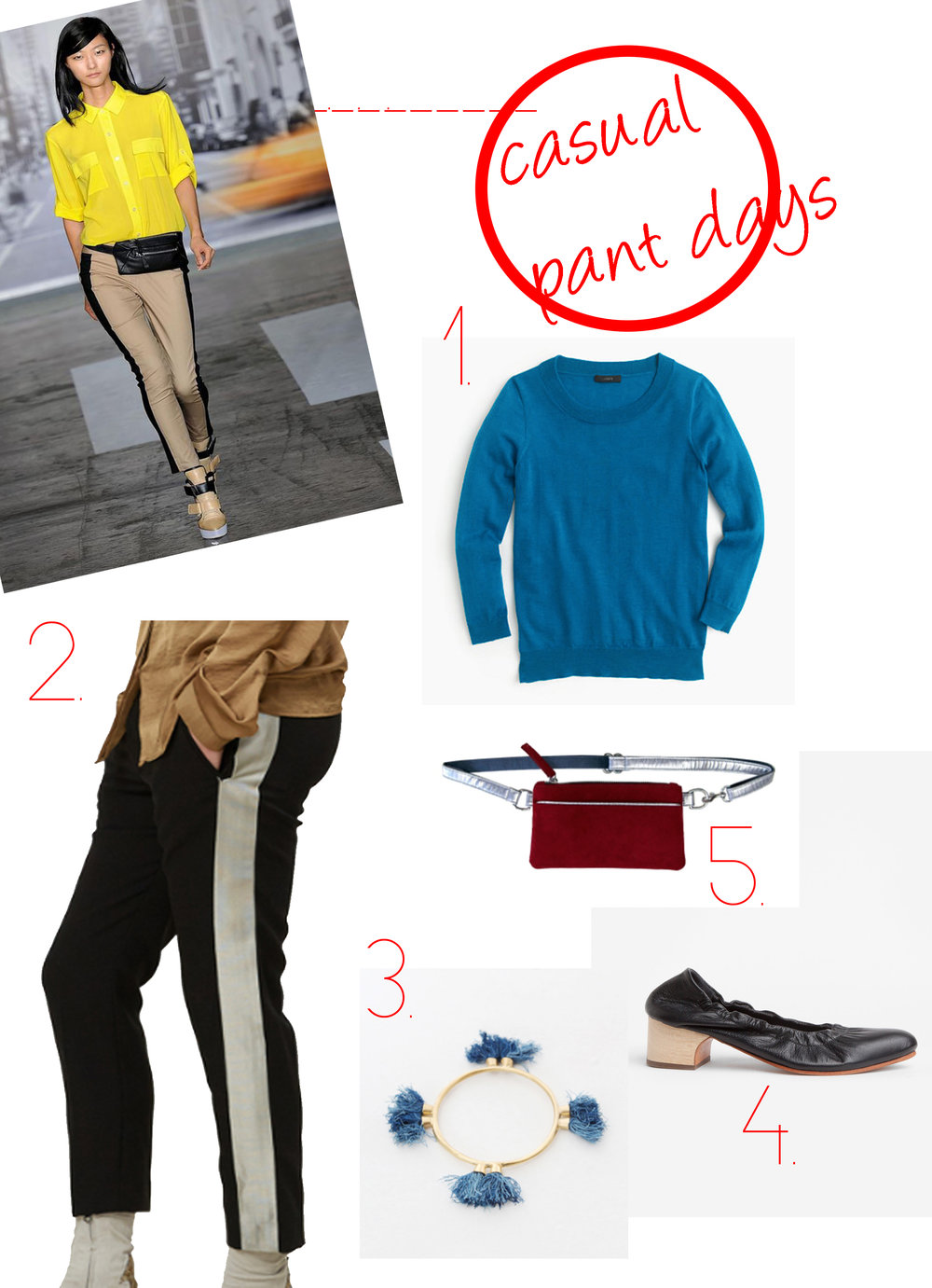 1.  J.Crew Tippi Pullover Sweater  2.  Haider Ackermann Black Grosgrain Ribbon Trousers  3.  Takara Kali Tassel Bracelet   4.  Rachel Comey Black Calder Black Floater  5.  Hipsters for Sisters Mulberry Red Pocket Bum Bag