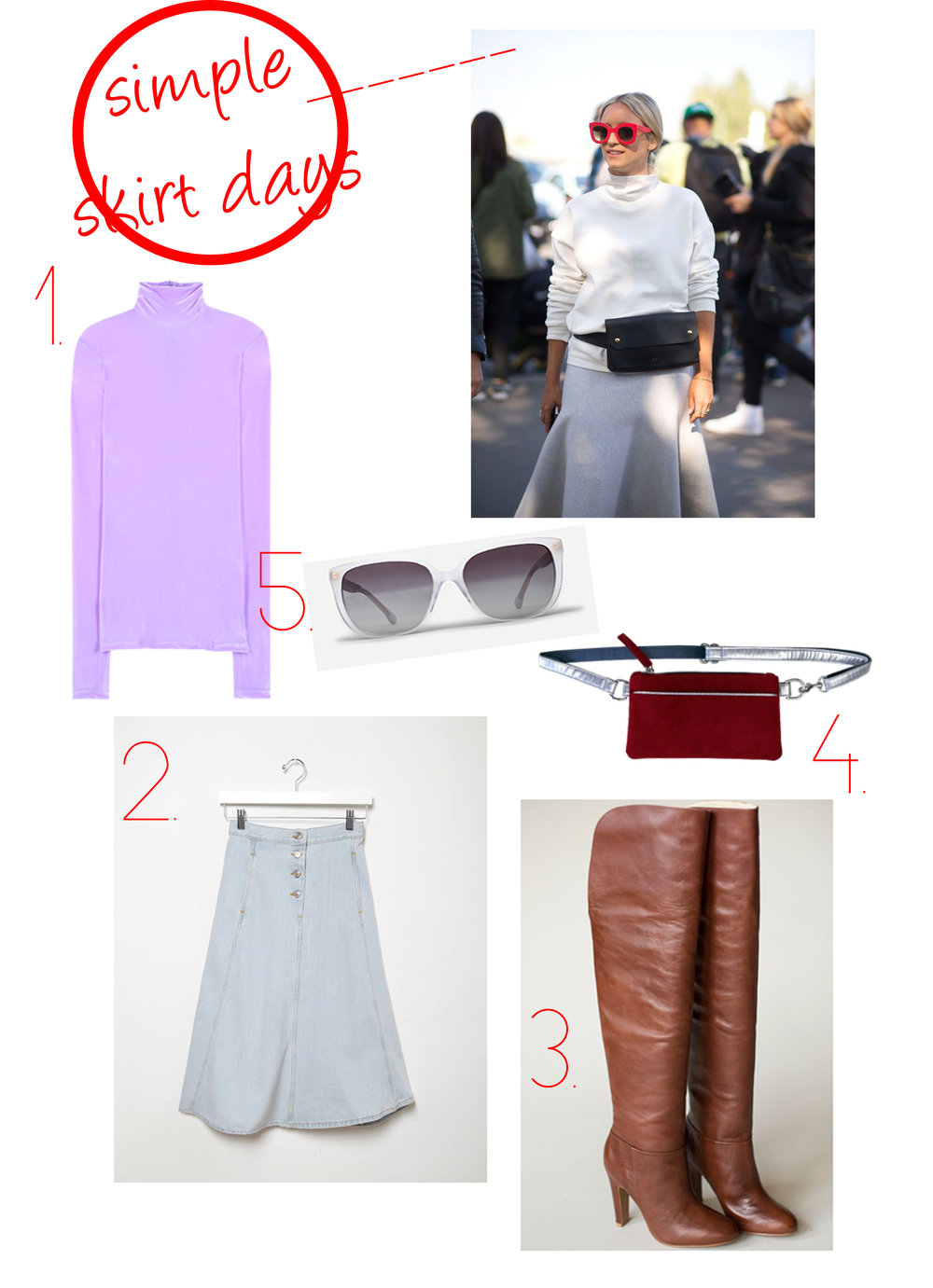 1. Vetement Purple Lilac Velvet Turtleneck 2. Acne Studios Katy Skirt 3. Candela Lovin Boot 4. Hipster for Sisters Mulberry Red Pocket Bum Bag 5. Steven Alan Elmont Sunglasses in Smoke Horizon