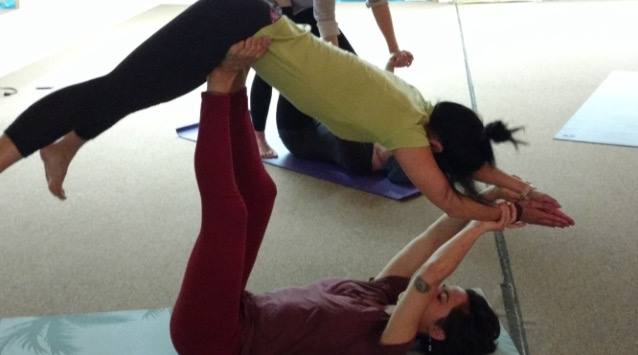 Acro Yoga Class, Adrienne basing folding leaf pose