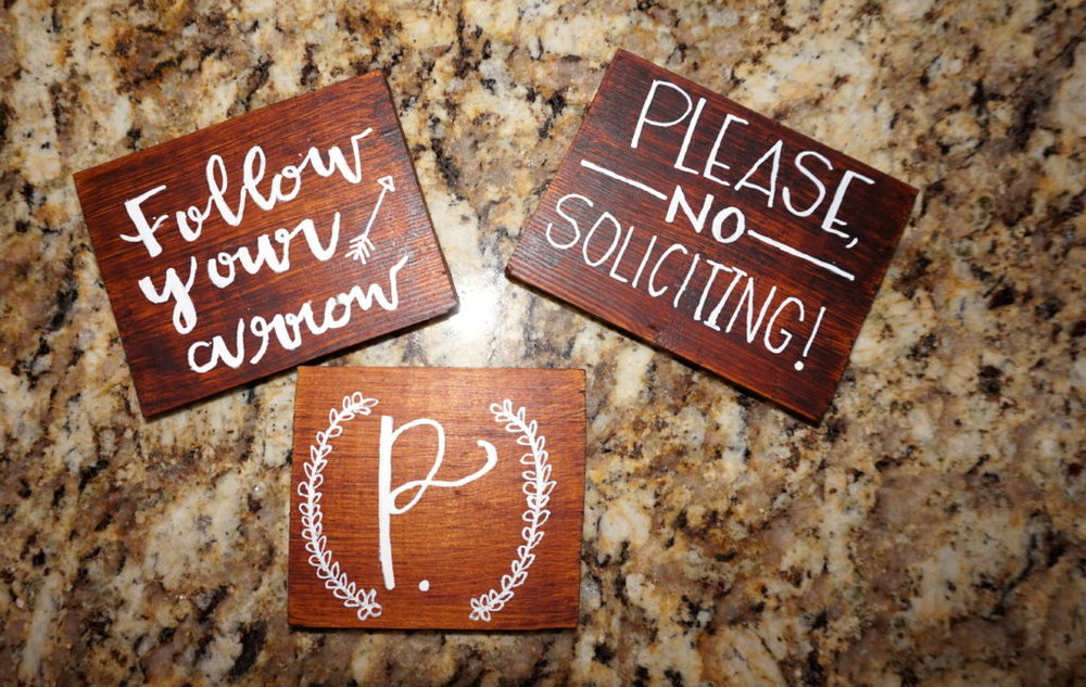 Mini signs for nightstands, end tables, etc.