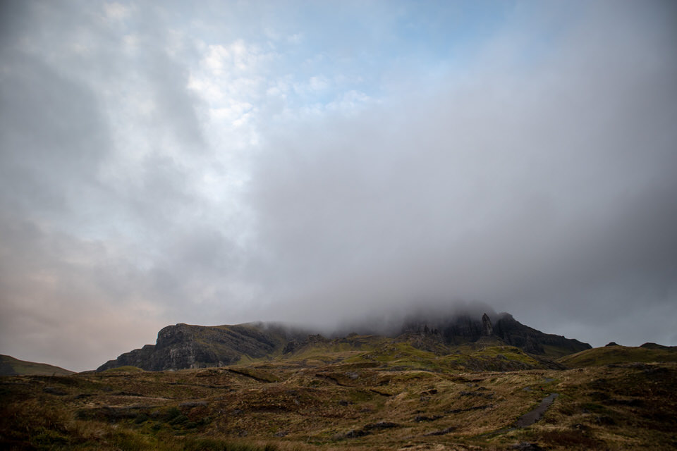 Old Man of Storr — looking eerie in the morning mist.
