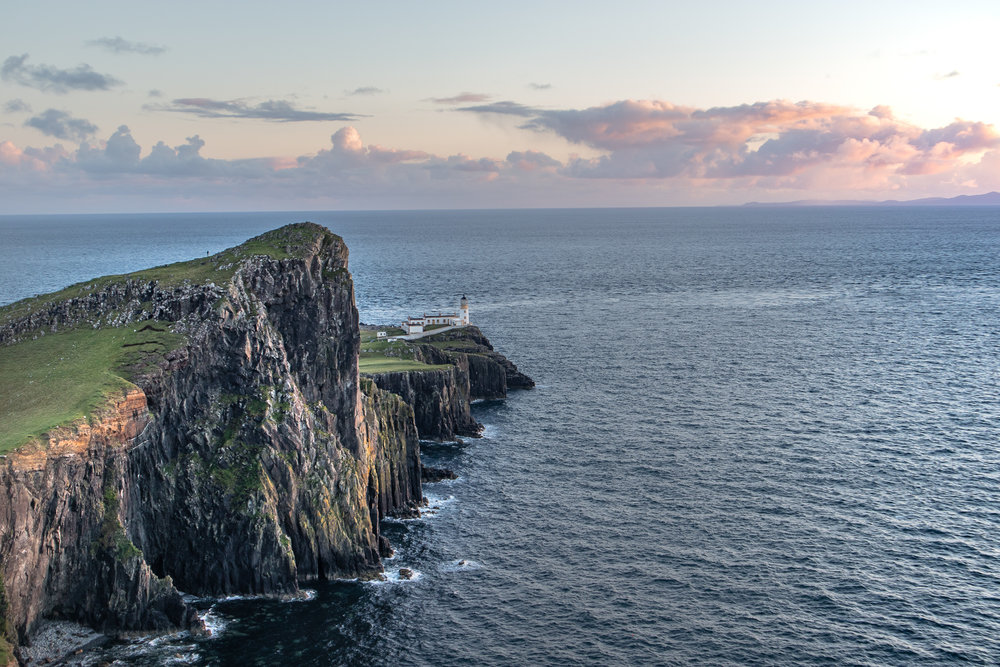 The Neist Point Lighthouse. Not pictured: Wind. And a lot of it.