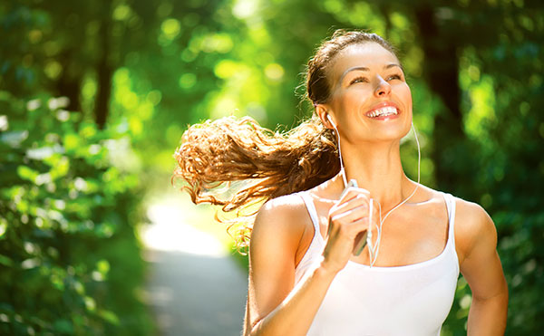 Woman Exercising Outside Sunny Day