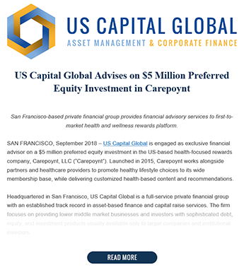US Capital Advises on $5 Million Preferred Equity Investment in Carepoynt