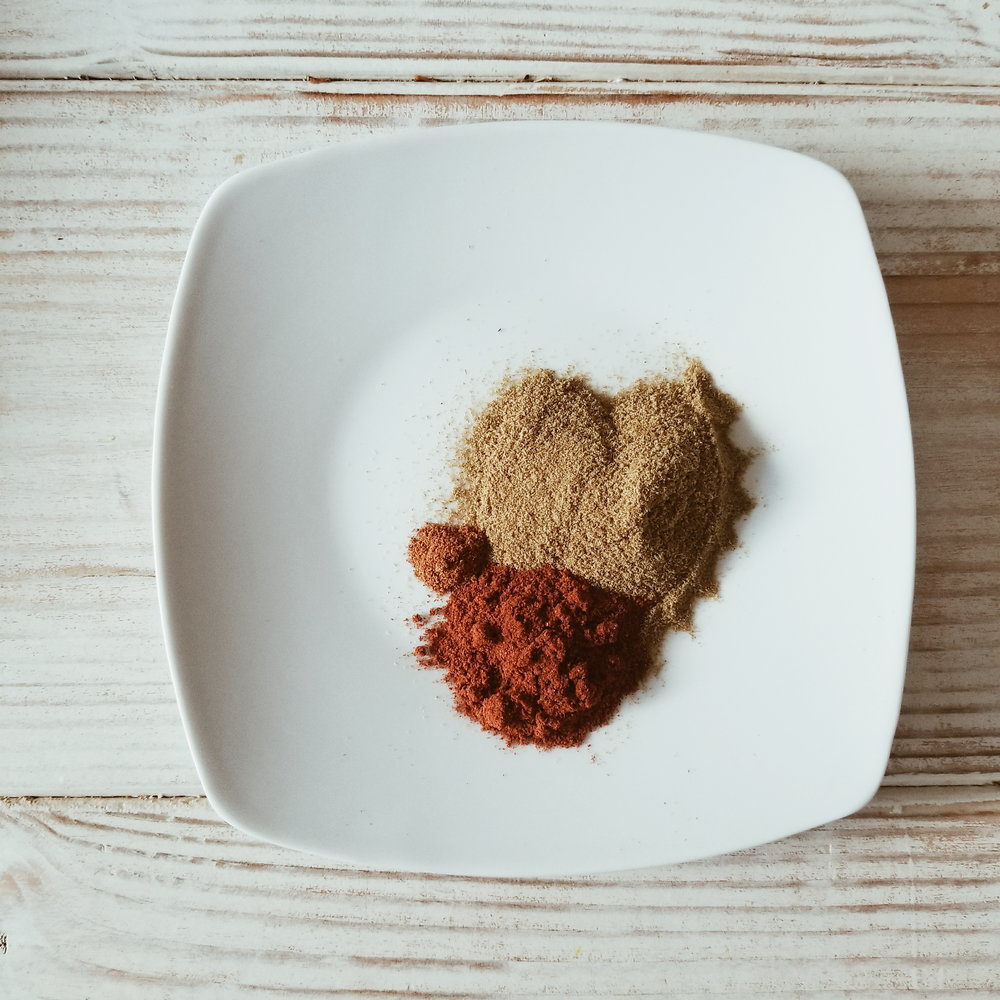 FAVE SPICES: CUMIN, PAPRIKA, CAYENNE (AND OF COURSE THE CUMIN IS IN THE SHAPE OF A HEART)