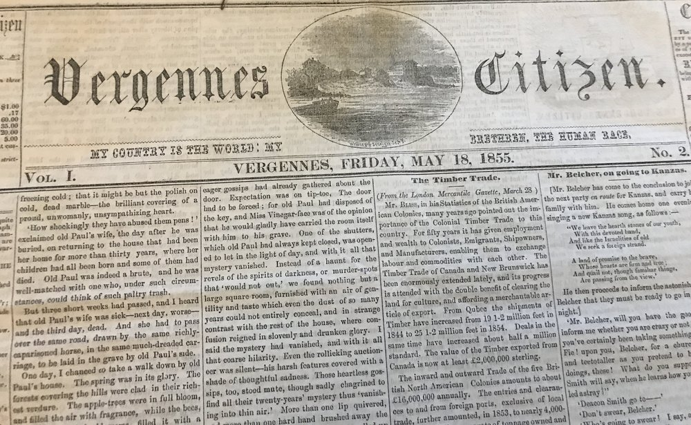 The Vergennes Citizen as it appeared in 1855.