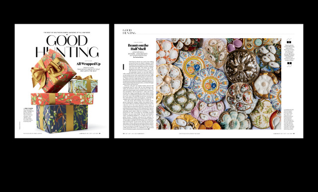 Good Hunting is where we house our style and design content. Here you'll find anything from a one-of-a-kind garden to unique architectural gems to weirdly wonderful collections--in this instance oyster plates. This is also where our more service-y product pages are housed. For the December/January issue it's home to our holiday gift guide.