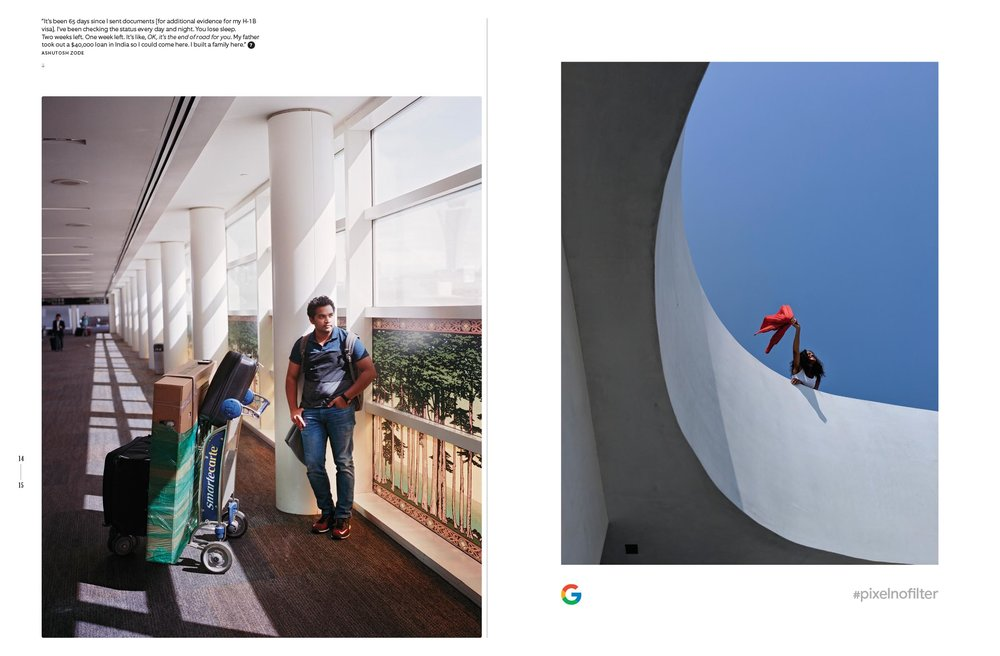 left photo by Erin Brethauer and Tim Hussin / right page: Google Pixel ad