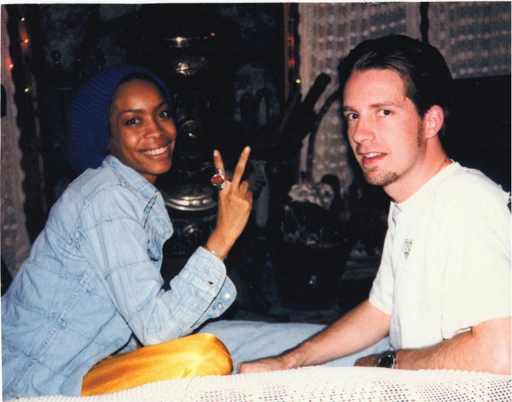 "Taking a break with Erykah Badu during the recording of ""Mammas Gun"" at Palmyra Studios"