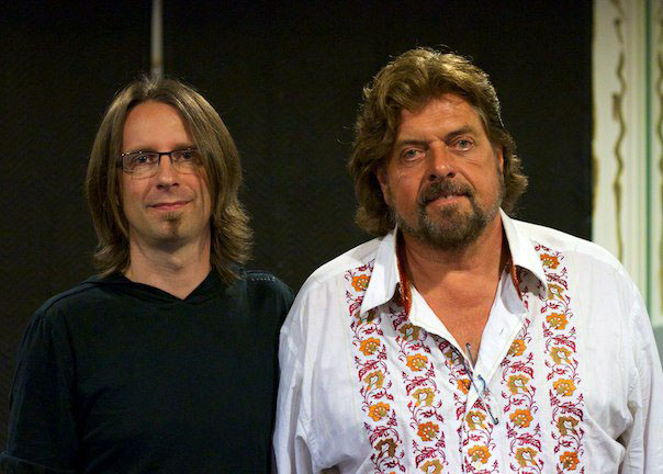 "With Alan Parsons after he interviewed me for his ""Science of Sound "" series"