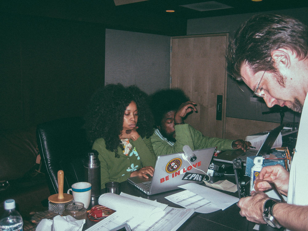 "In session with Erykah Badu and Questlove recording the song ""Window Seat"" at Luminous Sound"
