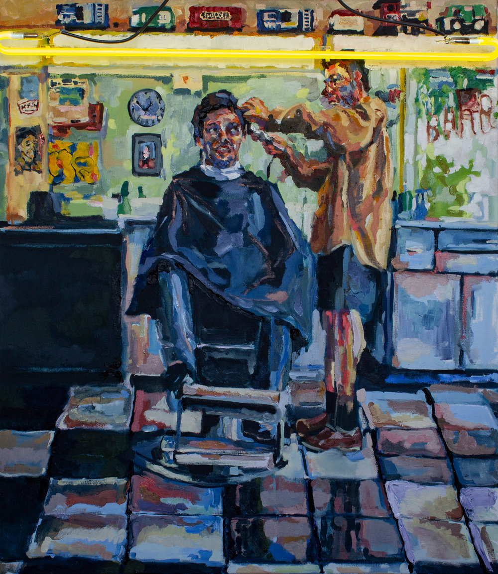 Barber  (2018)  46 x 40 inches  Oil and Neon on Canvas