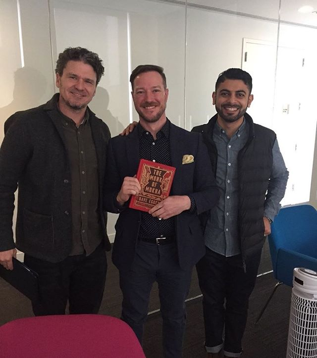 Thanks for the great chat @mashablereads #goodtalk #coffeetalk #podcast #mashable #daveeggers #mokhtaralkhanshali #coffee #books #peterallenclark