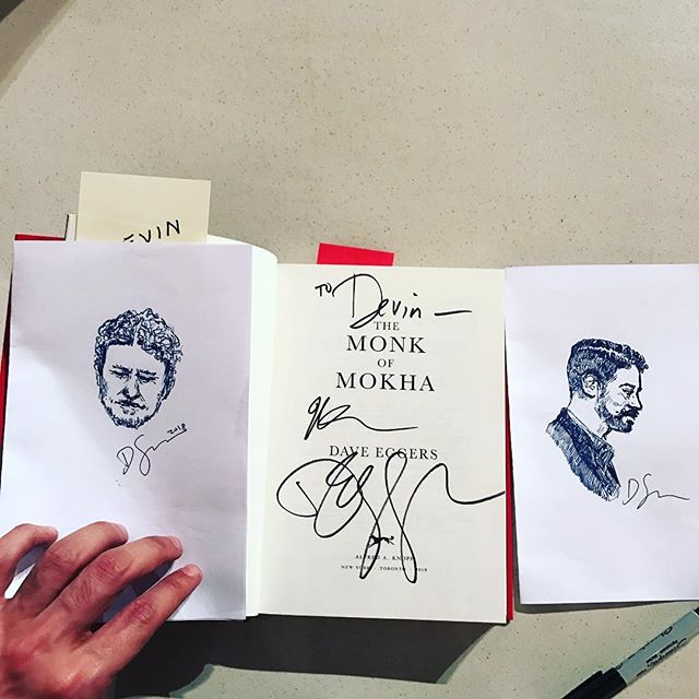 Shoutout to Devin Symons, an audience member at Dave and Mokhtar's incredible event tonight @sixthandi with @politicsprose for these amazing drawings! Next stop on #themonkofmokha tour: Boston @harvardbookstore #boston #dc #daveeggers #booktour #art