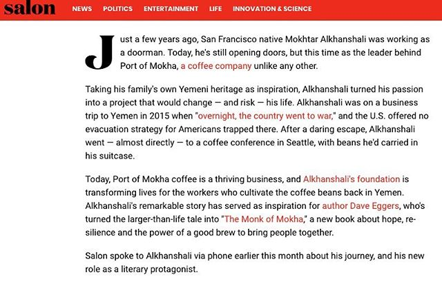 Thank you @salonofficial for helping to tell this story! #themonkofmokha #daveeggers #nonfiction #books #mokhtaralkhanshali #portofmokha #coffee #☕️ #thirdwavecoffee [link above ⬆️]