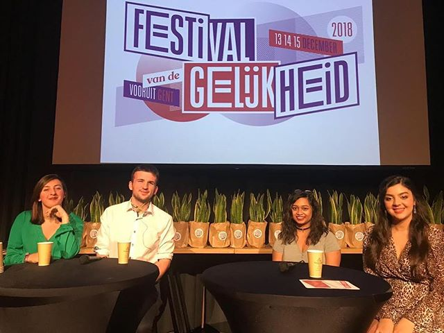 Congrats to four of our International Congress of Youth Voices delegates — Emma Lorenceau, Sean Farrelly, Anika Hussain, and Sarah Sobka — who appeared at the Equality Festival in Ghent, Belgium. They spoke about the Congress, about youth activism, and about misconceptions about their generation. I'm so proud of these people. They are so poised and kind and open and they fill me (and you, and all the Belgians who saw them) with hope. At the end of the festival, they were each given a plant (a smaller version of the ones you see behind them). Not sure how they got them on the plane, but that is not my concern. Congrats, guys. -D.E.
