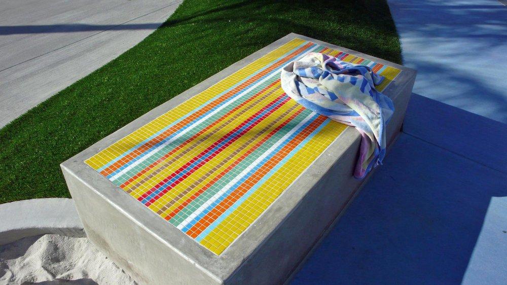 Pool Towel Bench Inlays - Alga Norte Community Park