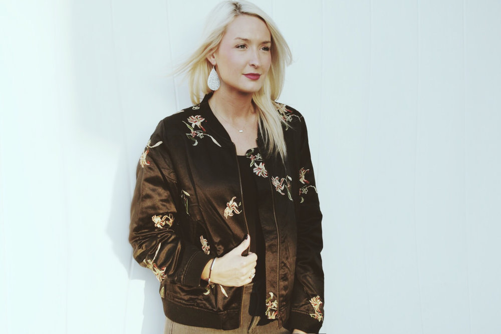 Obsessed with this  floral bomber  from  Boutique Rye ! Every time I am needing a black jacket I grab this bomber because it pairs well with EVERYTHING! The floral detail is simple yet noticeable, and I love the weight. I have worn it with a tank, long sleeve and short sleeve shirt & it works just like a light jacket! Paired, once again with my ride-or-die  Old Navy Rockstar 24/7 steel jeans . I have every color they make in them, because they are so reasonable & feel like I'm wearing leggings! I have been leather earring obsessed lately, and I can't believe how many options  Inspire KC  has! Sooner of later I will probably have all of them all! (No shame here)