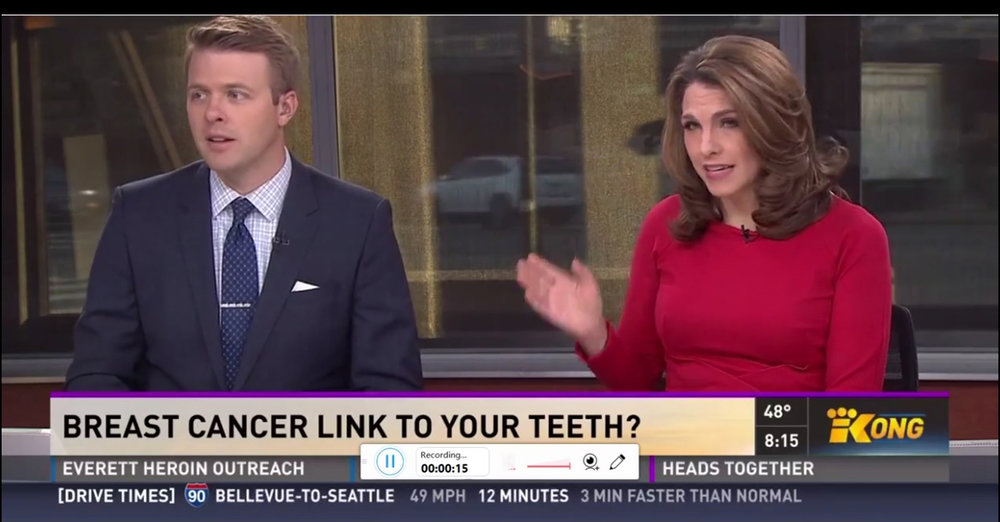 Dr. Panahpour is interviewed on NBC King5 TV in Seattle about the link between breast cancer and root canals. -