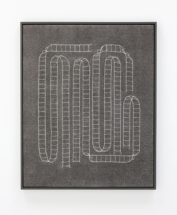 "Ladder Map  Window blind cord, wool, thread, acrylic medium 30"" x 24"" / 2016 Private Collection"