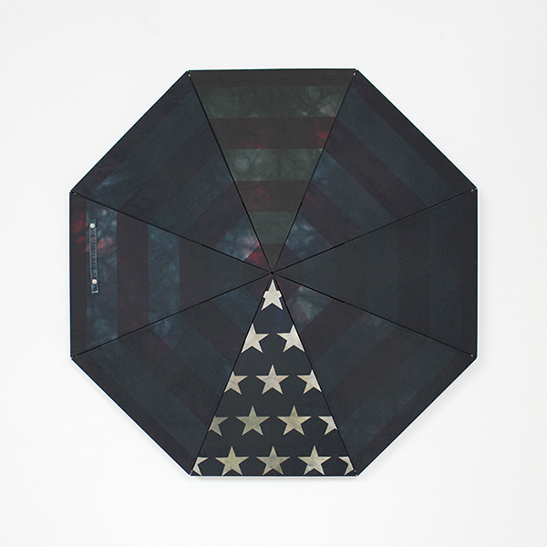 """Made in China  Found umbrella, black dye, wood, hardware, adhesive 34"""" x 34"""" x 1"""" / 2013 Private collection"""