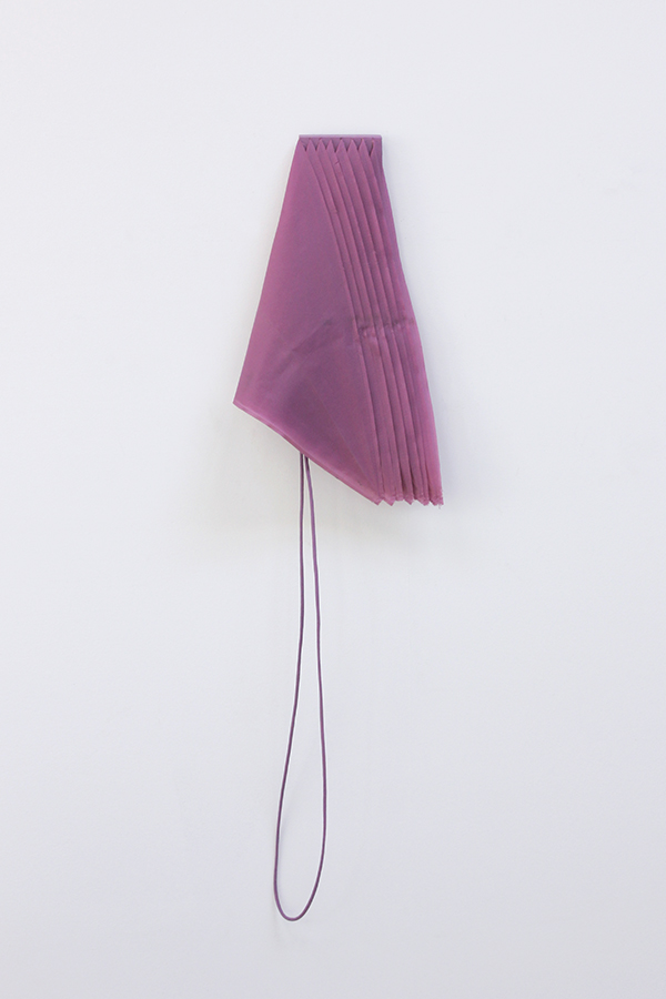 "Purple Eight  Umbrella fabric, wood, rope, acrylic, adhesive 40"" x 11"" x 4"" / 2016"