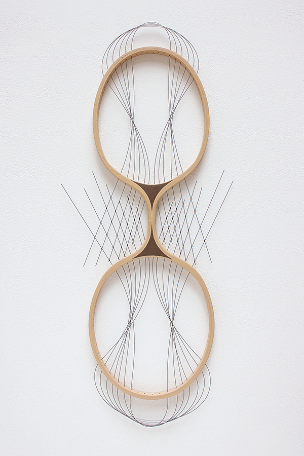 "Instrument  Badminton rackets, piano wire, acrylic, adhesive 26"" x 10"" x 1"" / 2013 Private collection"