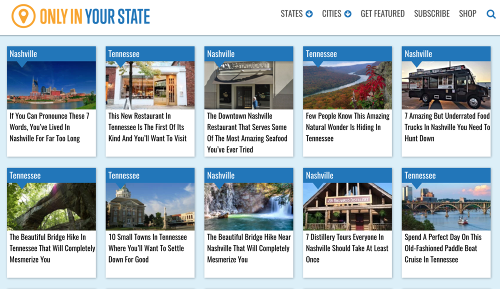Daily Travel Writing Publication: OnlyInYourState