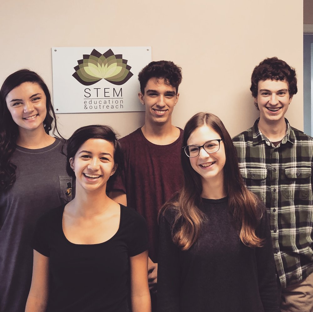 Our 2018-2019 Research Interns. These students attended the Western Regional Math Fair March 23, 2019. From left to right: Bailey Phillips, Caroline Miranda (Honorable Mention), Nathan Brown (First Prize), Aimee Wucherer (Third Prize), Alex Meade (Honorable Mention.)