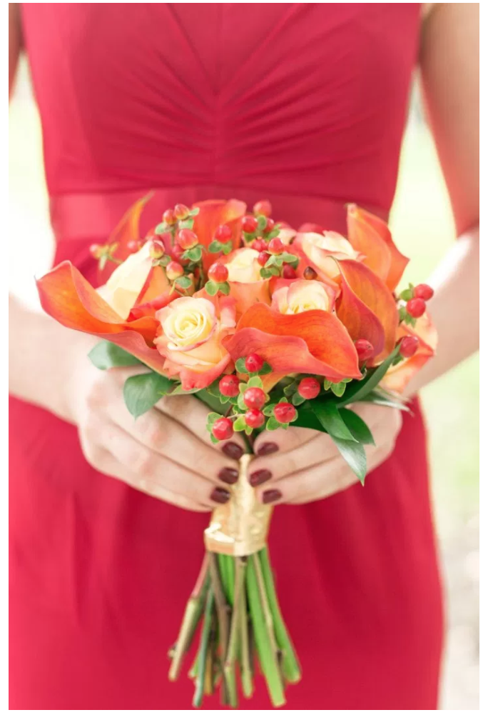 Bluegrass Chic - Red Bridesmaid Bouquet