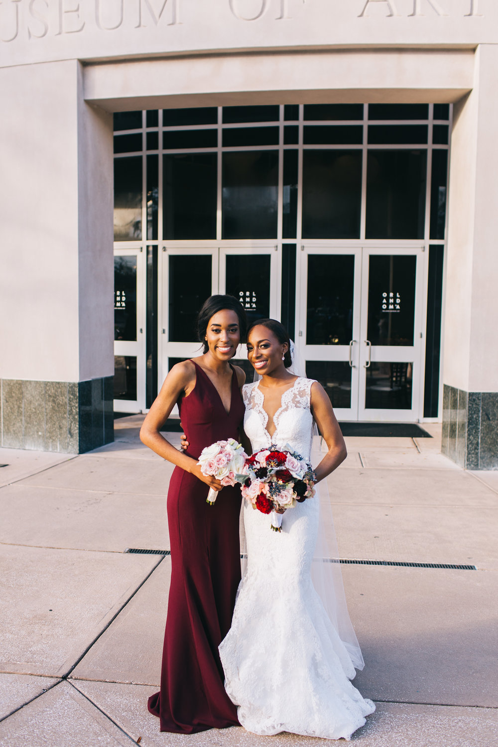 Bluegrass Chic - Bride and Maid of Honor in burgundy