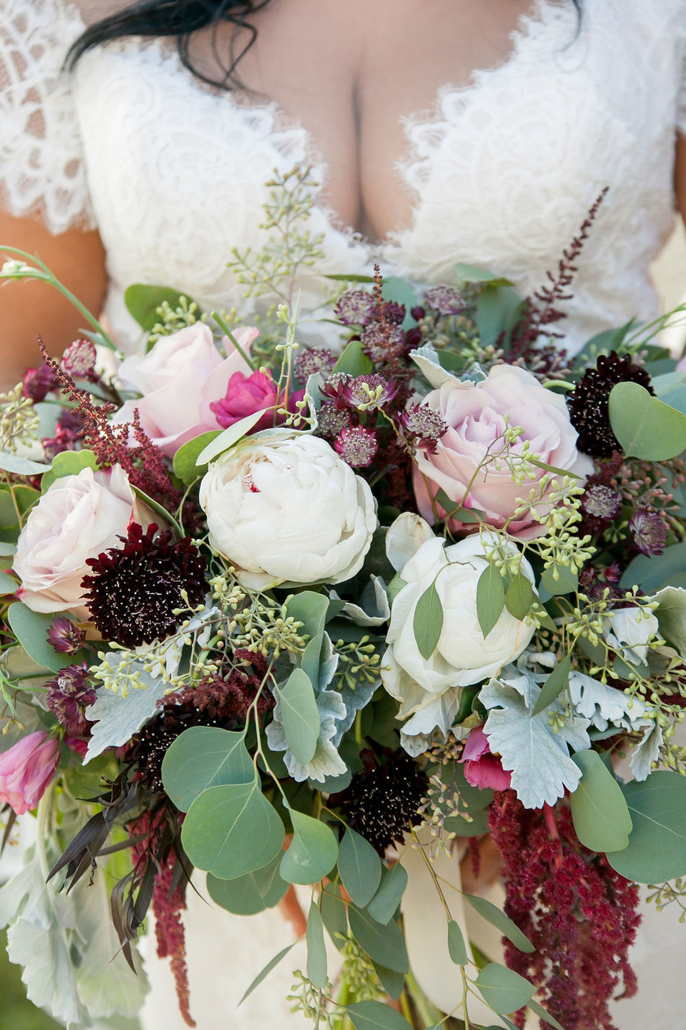 Bluegrass Chic - Bridal bouquet wine colored flowers