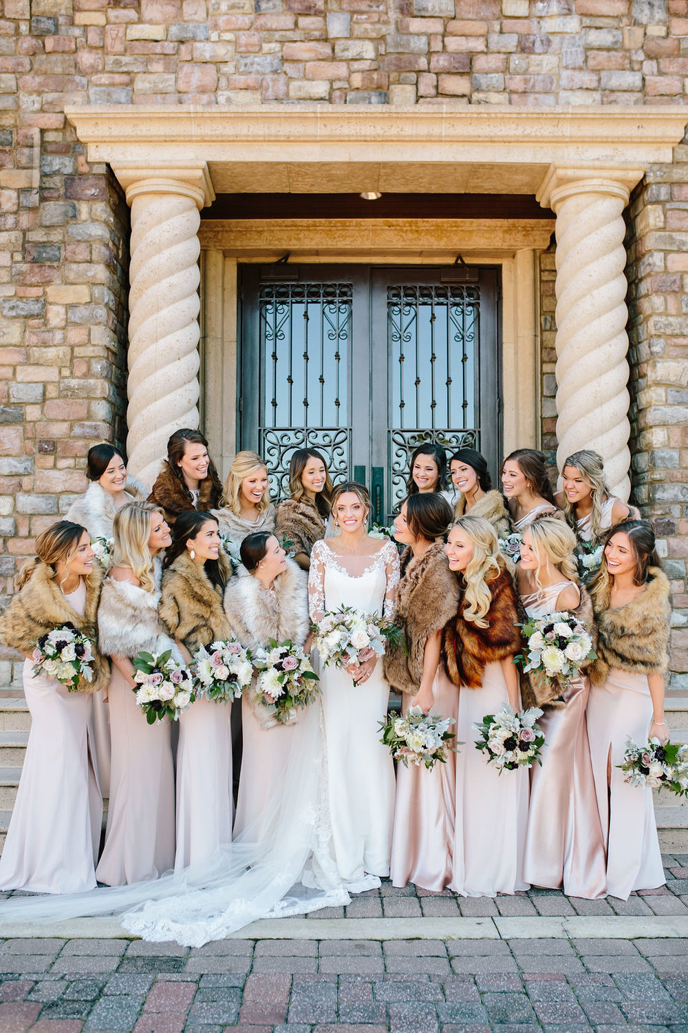 Bluegrass Chic - Bridal party ladies in fur stole