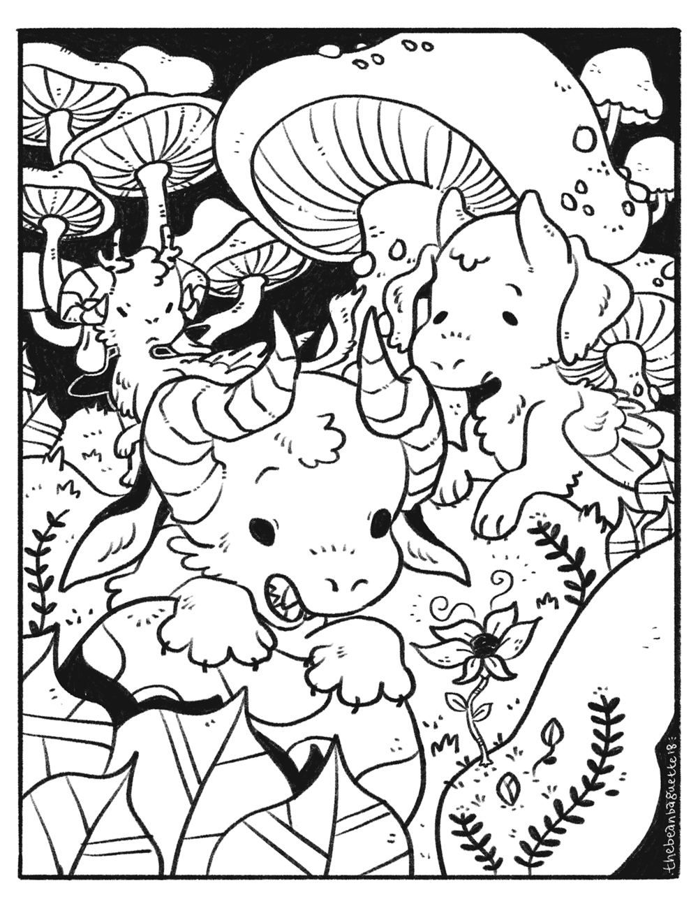 bbaguette feb2018 coloring page -- mushroom hunters.png