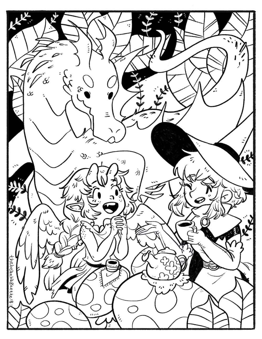 bbaguette mar2018 coloring page -- forest picnic.png