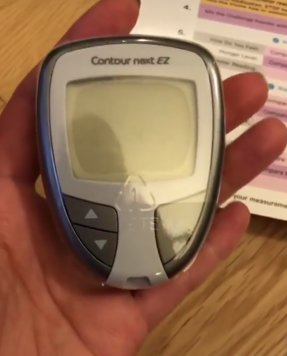You receive a glucometer, lancing devices,test strips, a shake and measuring tape to complete the Metabolic Intelligence test.