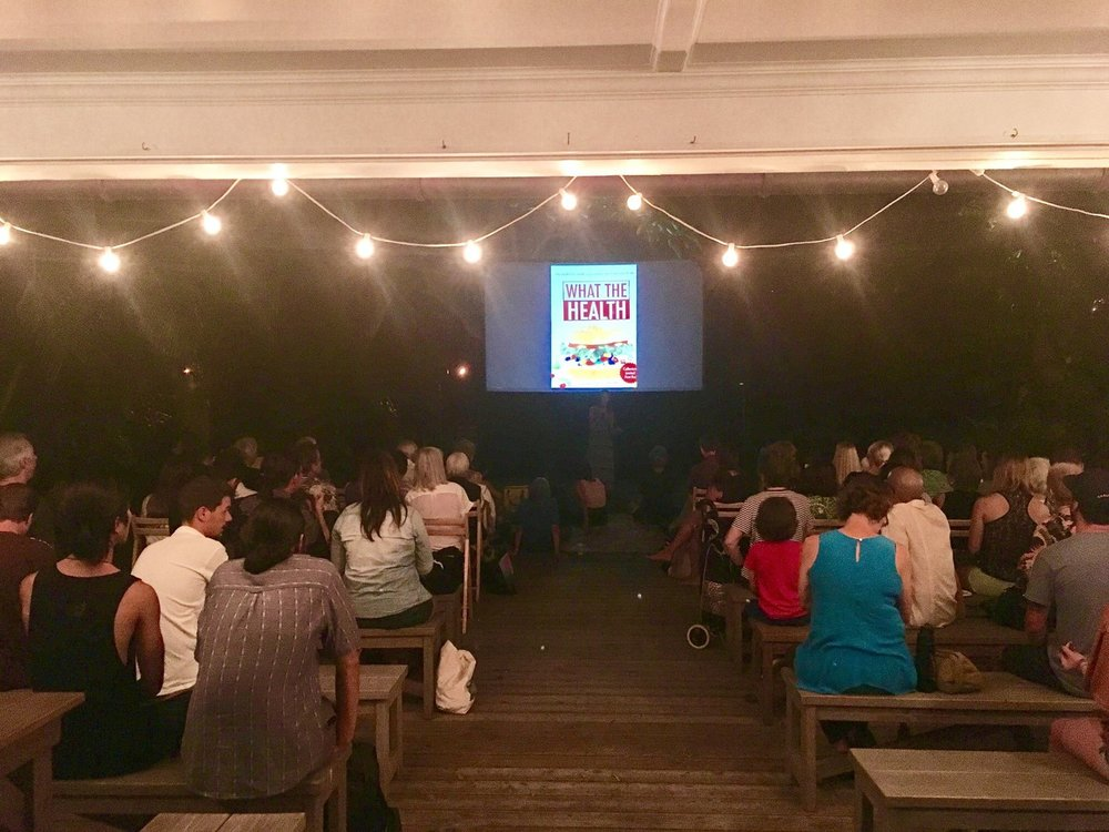 Attendees getting ready to watch the film with epic, outdoor seating.