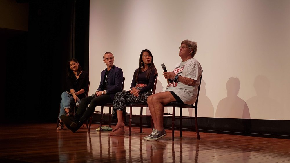 At the end of the film, we opened the floor up for a Q&A with our panel (Left to Right) Anna Camacho, moderator and co-founder of Good Food Movement; Nick Pecoraro, animal rights activist, co-founder of Animal Liberation Oahu and Aloha Animal Sanctuary; Doorae Shin, environmental activist/eco-warrior, manager of the Plastic Free Hawaii program and co-founder of the Good Food Movement; Cathy Goeggel, founder and president of Animal Rights Hawaii, which is an organization that has campaigned for animals on a wide variety of animal issues since 1977.