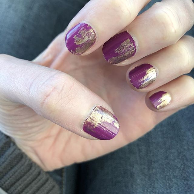 Got creative with the nail polish! I think it turned out pretty cool! #nailsofinstagram #nailart #naildesigns #nails💅 #nailpolish #purple #gold #chicagofashion #chicagobeauty #artisticnails #artistic #chicago #spring #springnails