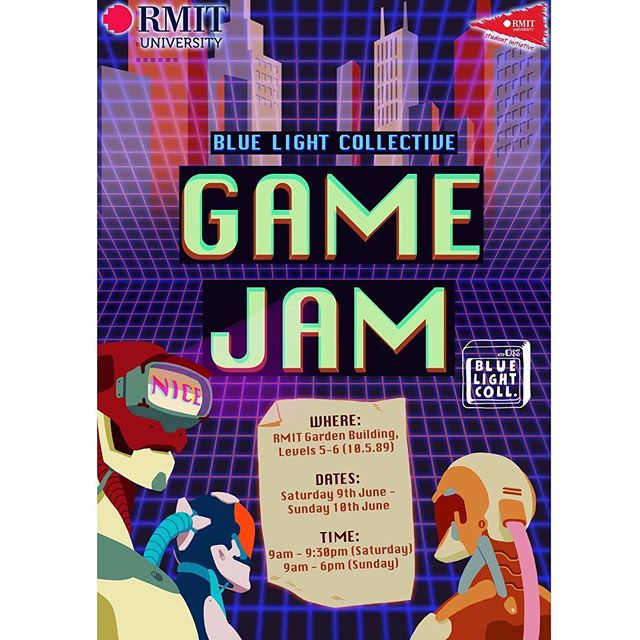 Hey, everyone! Semester 1 is just about over, so it's time for our first post-semester Game Jam!  Complimentary food and drinks will be provided to all participants, including a light dinner!  To find out more, visit our Facebook events page! Huge thanks to BLC member @plebnut  for designing this amazing poster!! #rmit #bluelightcollective #gamejam #rmitcreative