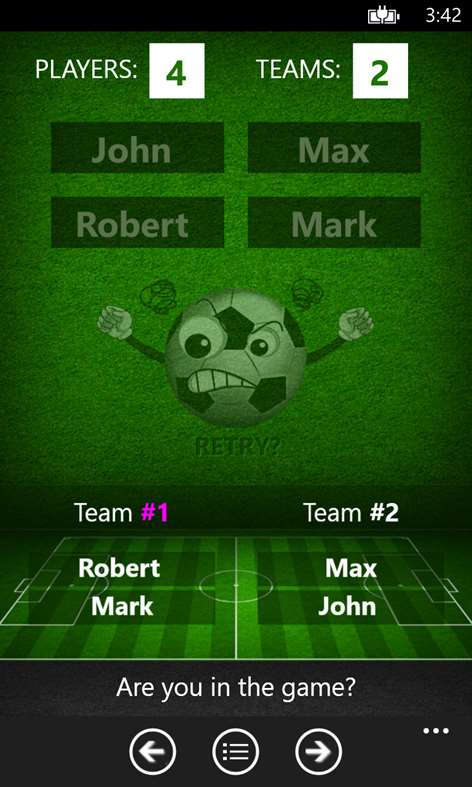 Team Creator - A simple Windows Phone app for creating pick up teams