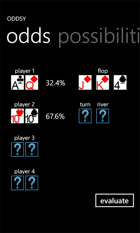 Oddsy - I Windows Phone poker odds calculator