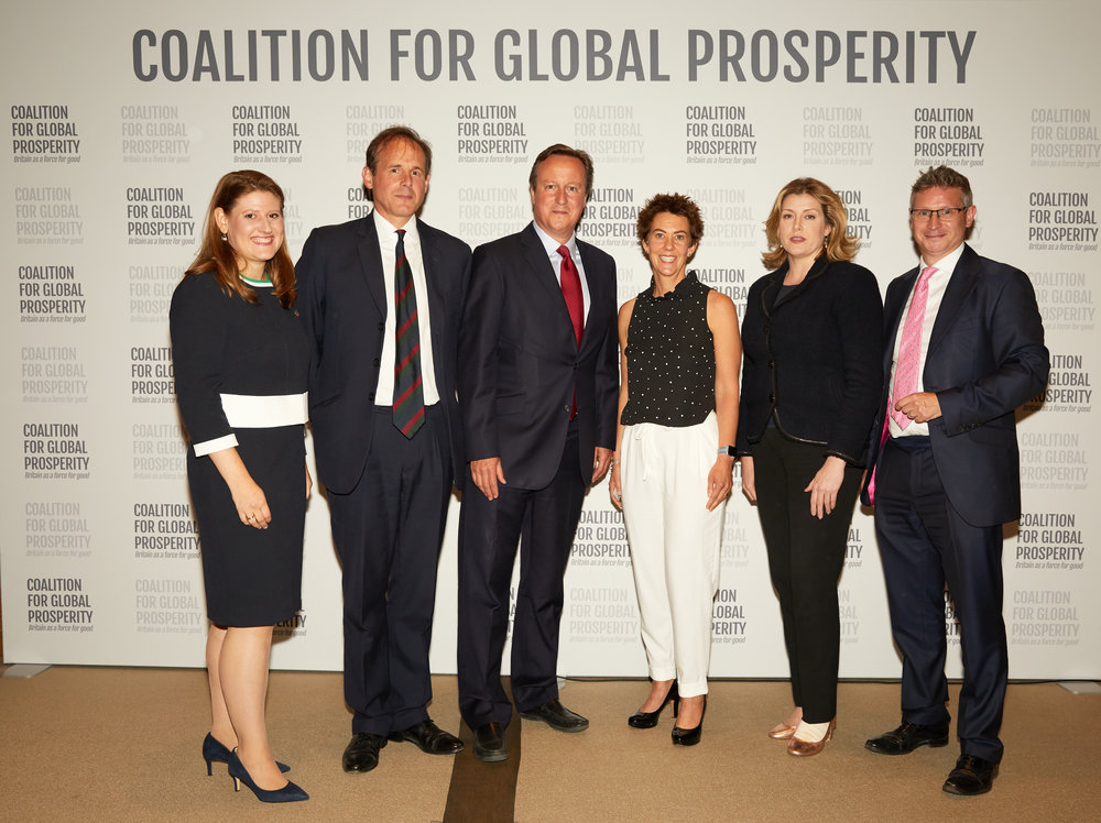 From left to right: Theo Clarke Chief Executive of the Coalition, Major General James Cowan CEO of The Halo Trust, The Rt Hon David Cameron former Prime Minister, Emergency Medical Team nurse Becky Platt, Secretary of State for International Development Penny Mordaunt MP &Simon Bishop Chair of the Coalition.