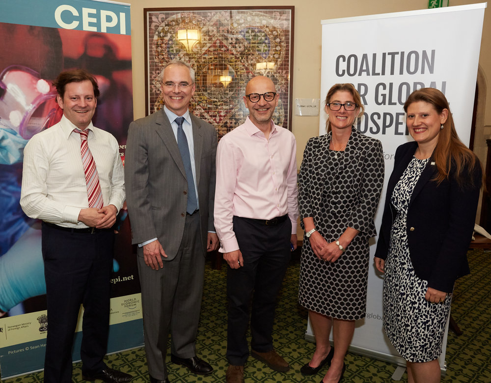 From left to right: Frontline worker Dr Colin Brown, Richard Hatchett CEO of the Coalition for Epidemic Preparedness Innovations (CEPI), Nick Herbert MP for Arundel and South Downs, Oxford University Professor Trudie Lang and our Founder and Chief Executive Theo Clarke.