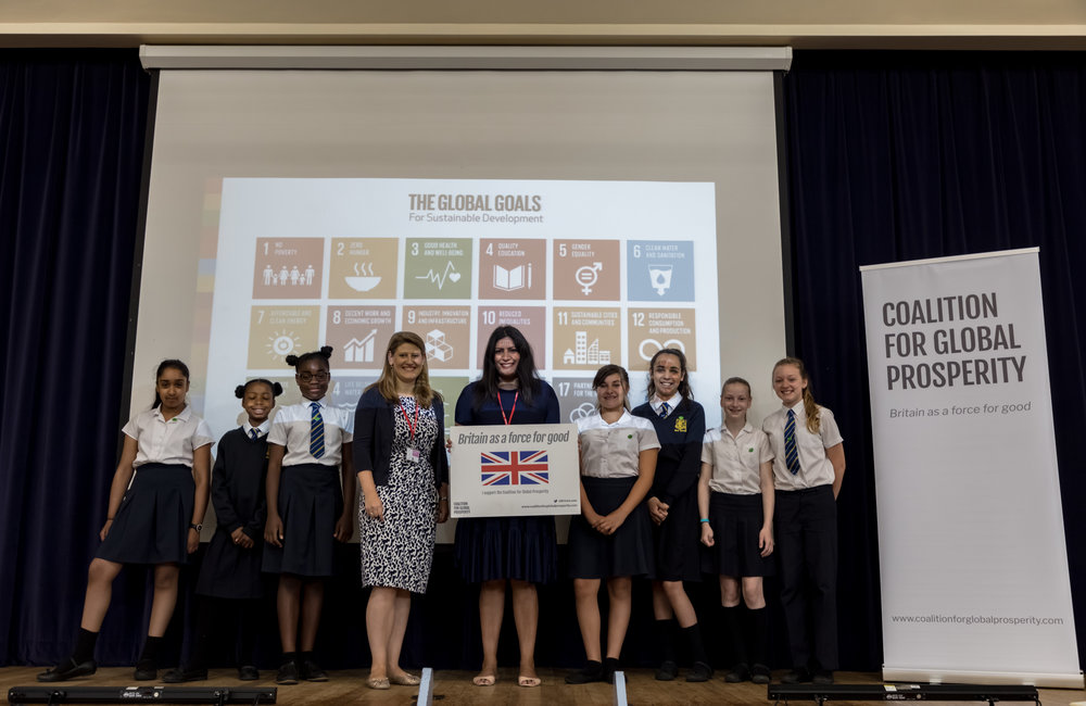 Preet Kaur Gill MP & Theo Clarke, Founder & Chief Executive of the Coalition with pupils at Lordswood Girls' School